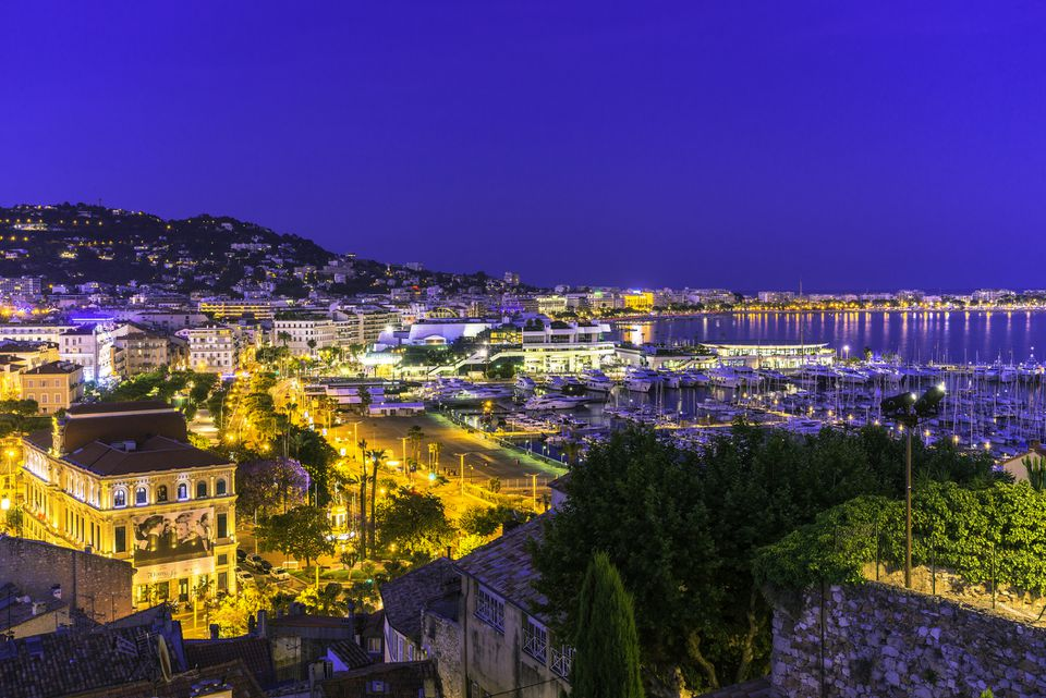 Aerial view of Cannes, France at night