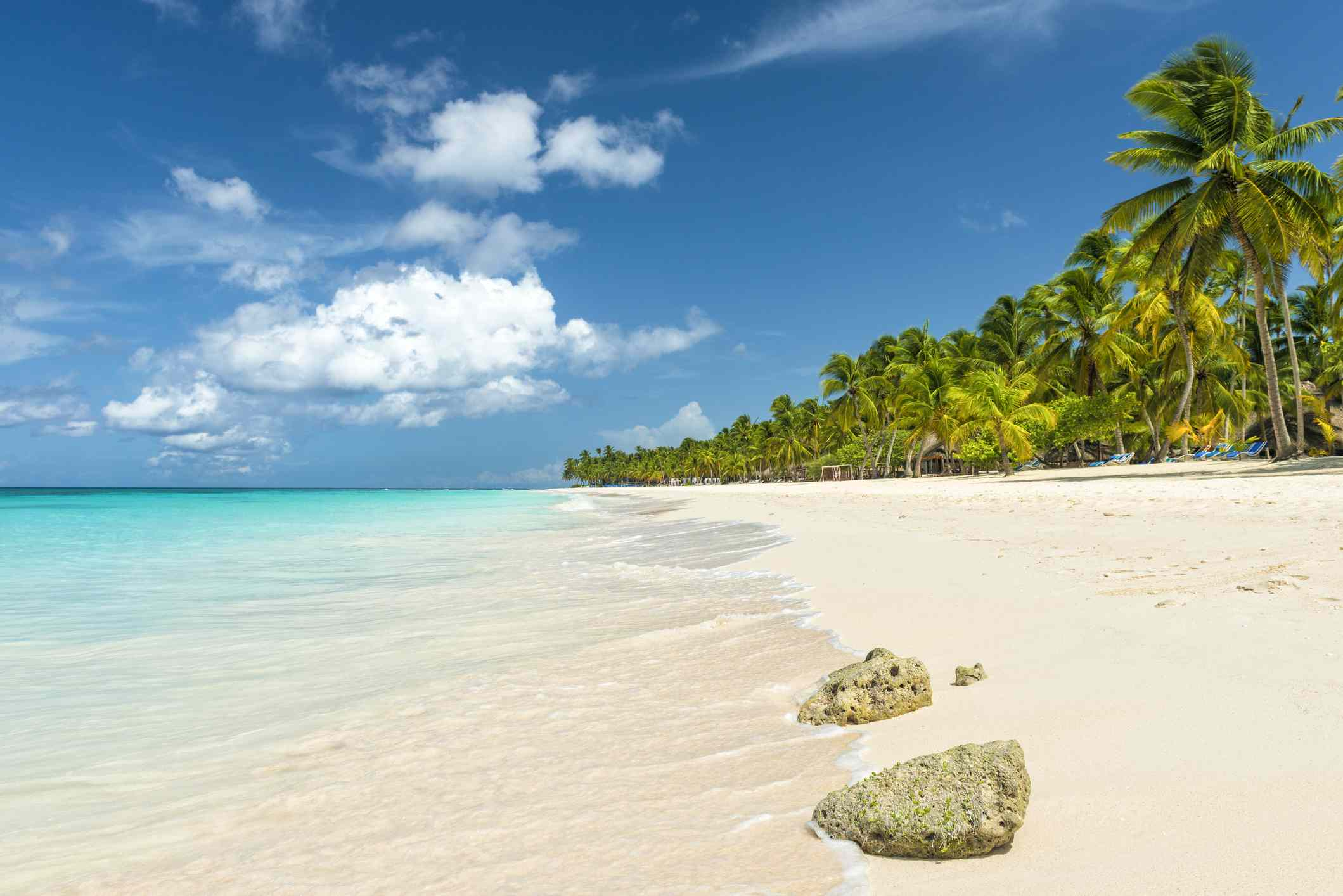 Beautiful beach in the Caribbean ocean and blue sky with some clouds
