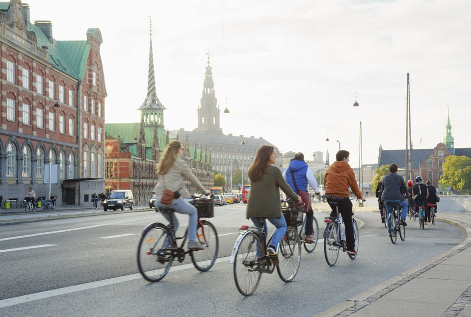 Cycling commuters in Copenhagen old town