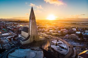 Reykjavik, Iceland skyline at sunset