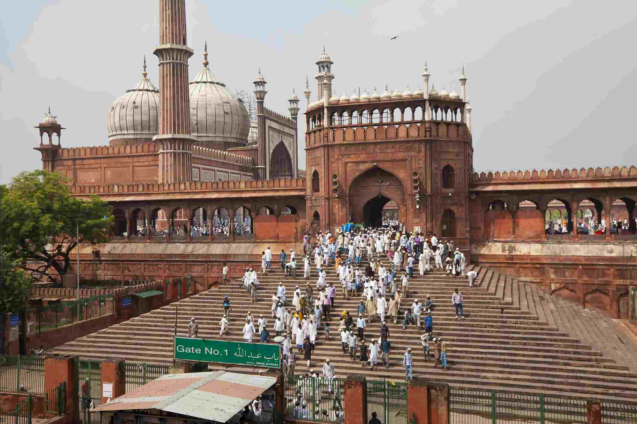People leaving the Jama Masjid (Friday Mosque) after the Friday Prayers, Old Delhi