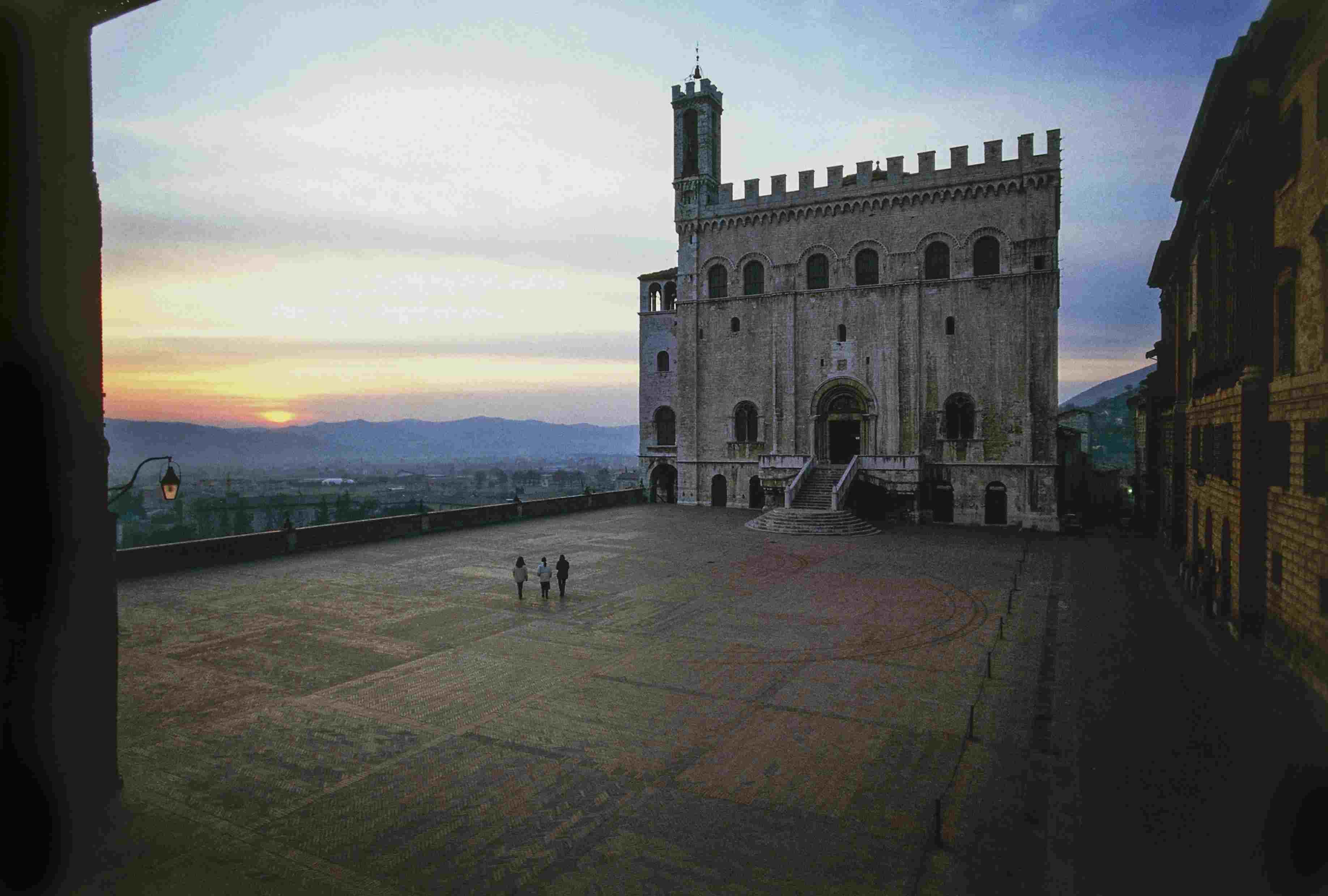 Consuls palace, 1332-1349 and Piazza Grande, sunset, Gubbio, Umbria, Italy, 14th century