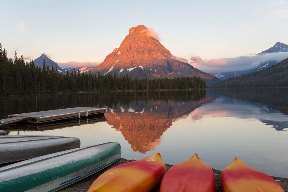Montana glacial lake with canoes