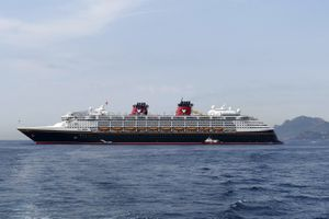Disney Magic cruise ships at anchor in Cannes, France