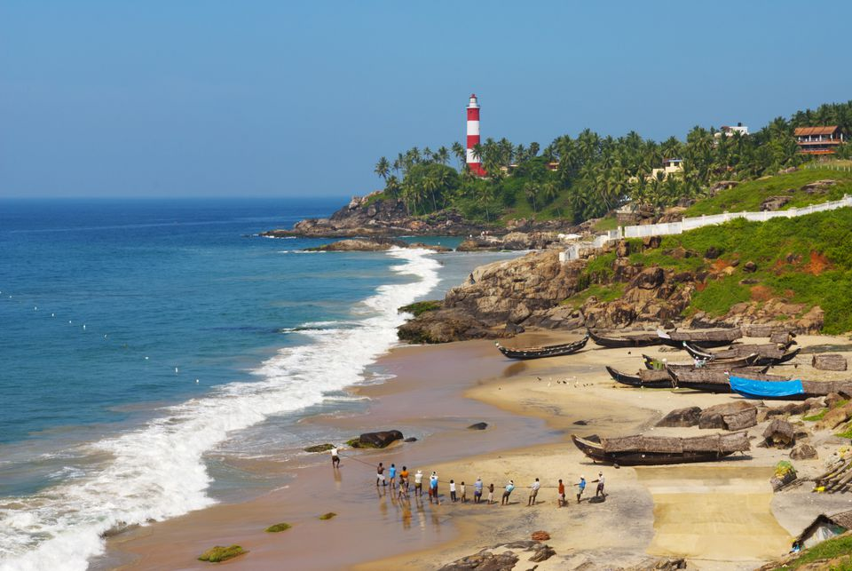 Kovalam beach and light house.