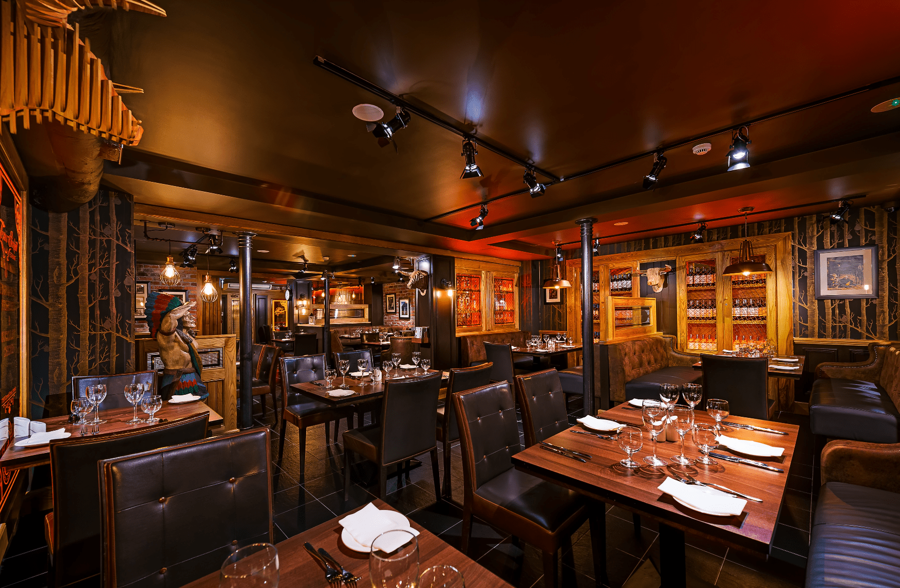 dark woof and leather chairs in restaurant