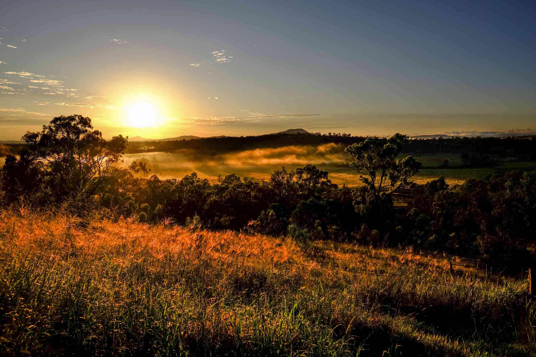 Sunrise morning view over the Grandchester area of Ipswich, Queensland