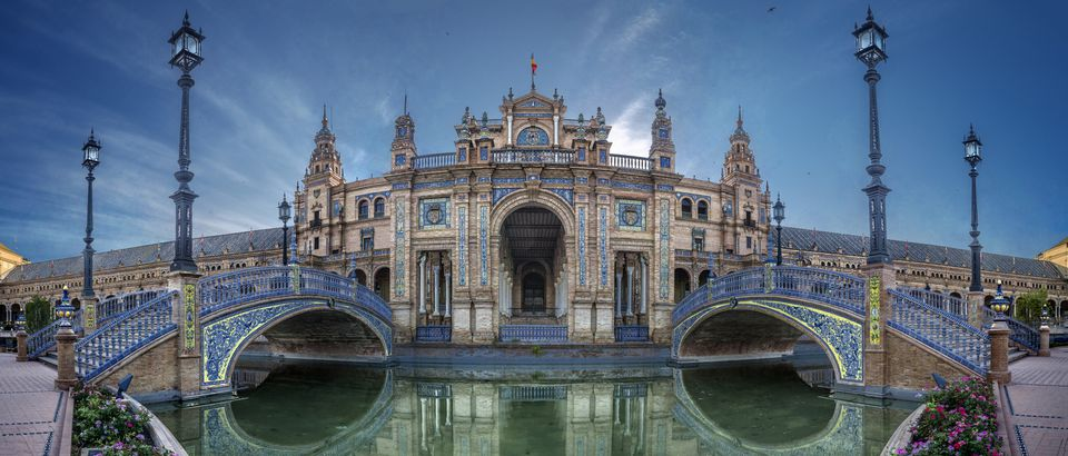 Bridge of Plaza Espana in Sevilla , Spain