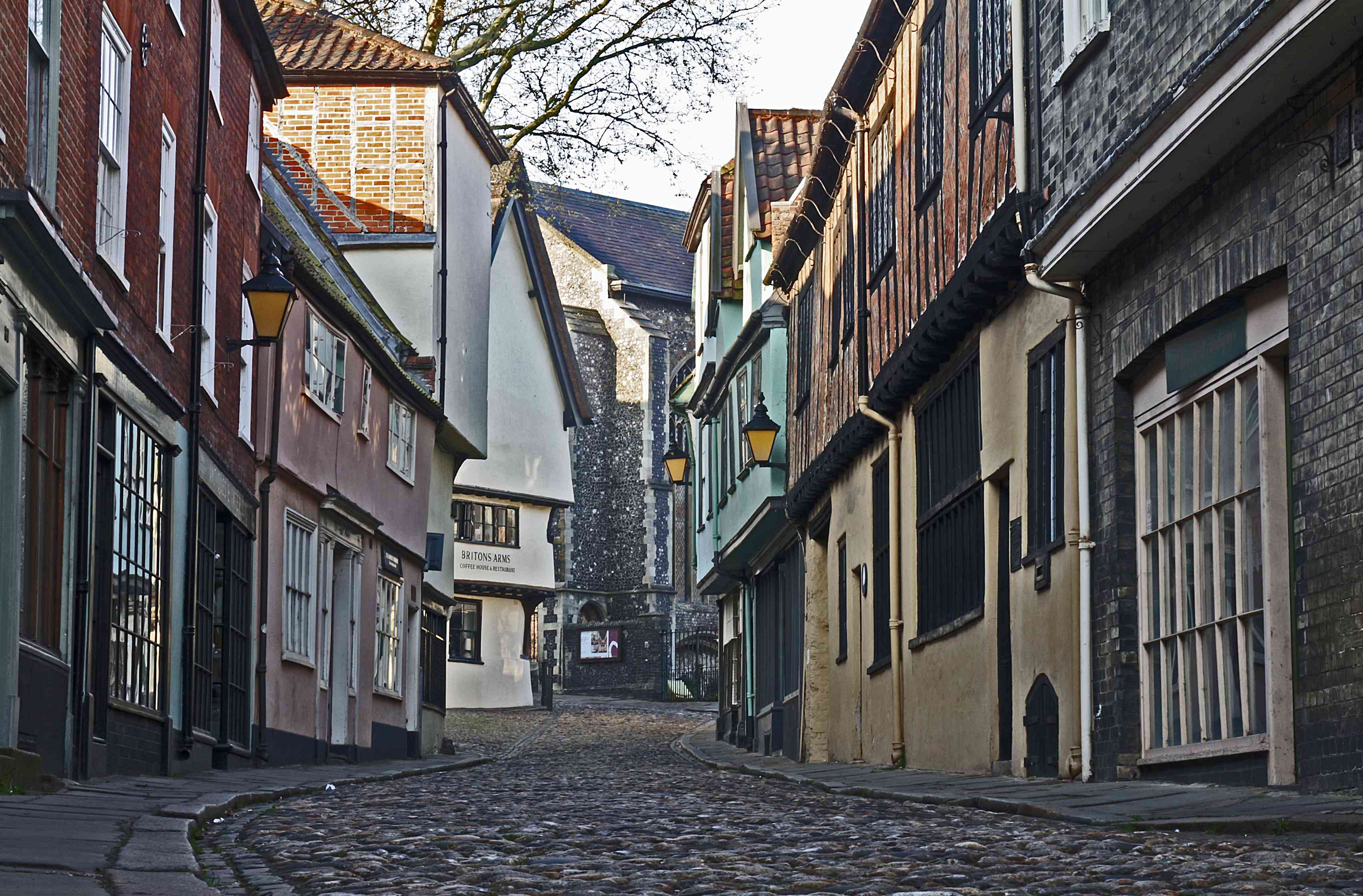 Elm Hill Street in Norwich, England