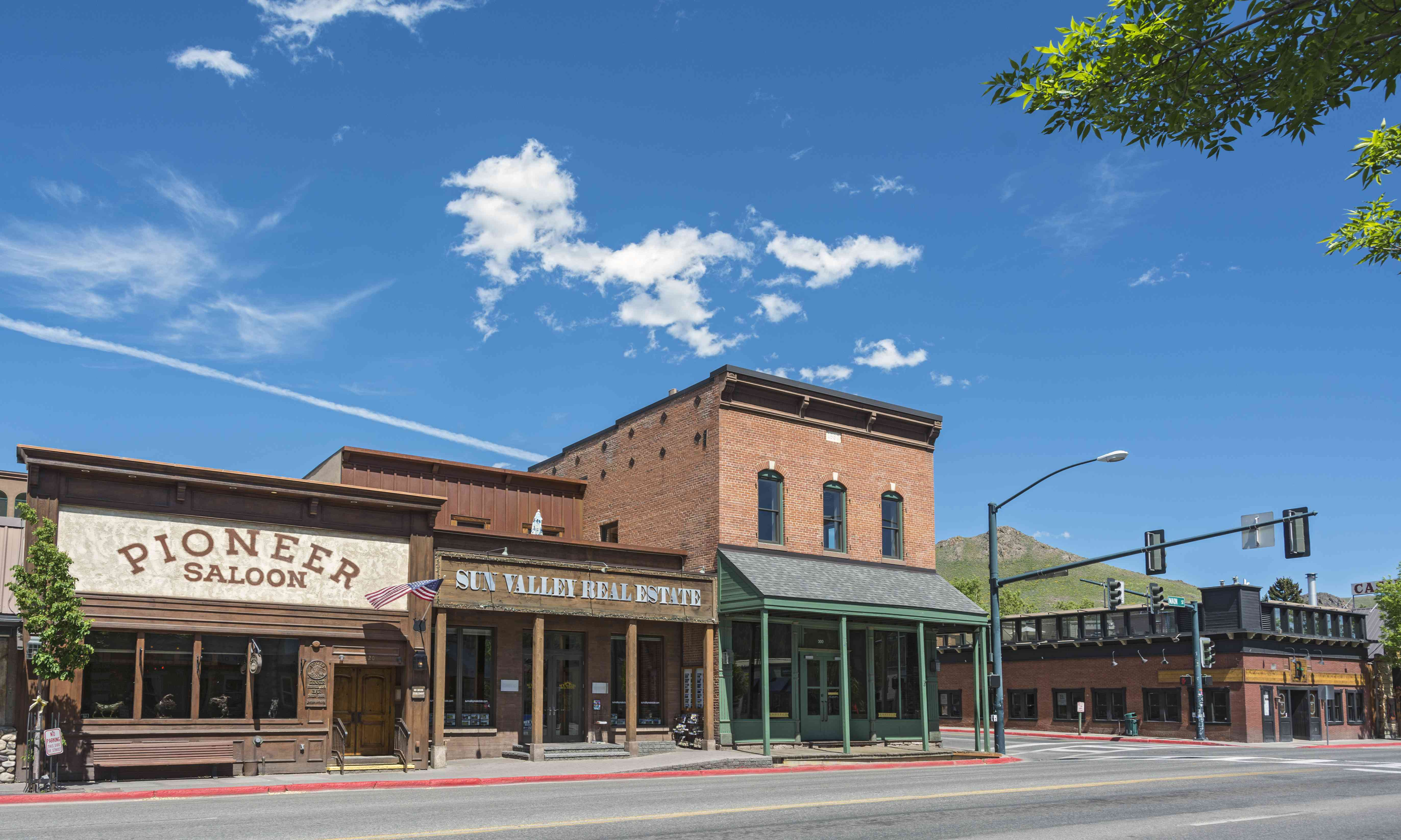old-west style buildings on an empty street in ketchum, idaho