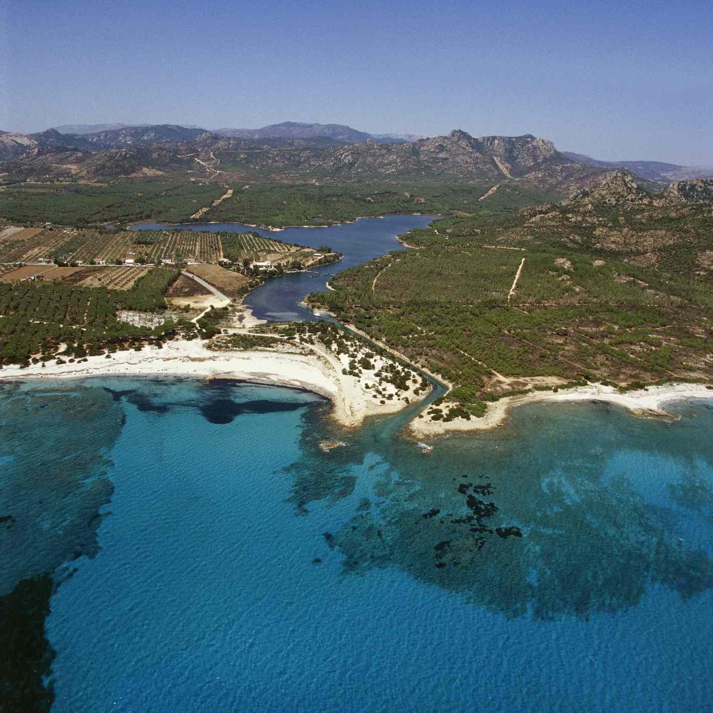 Italy, Sardinia, Province of Nuoro, Gulf of Orosei, aerial view