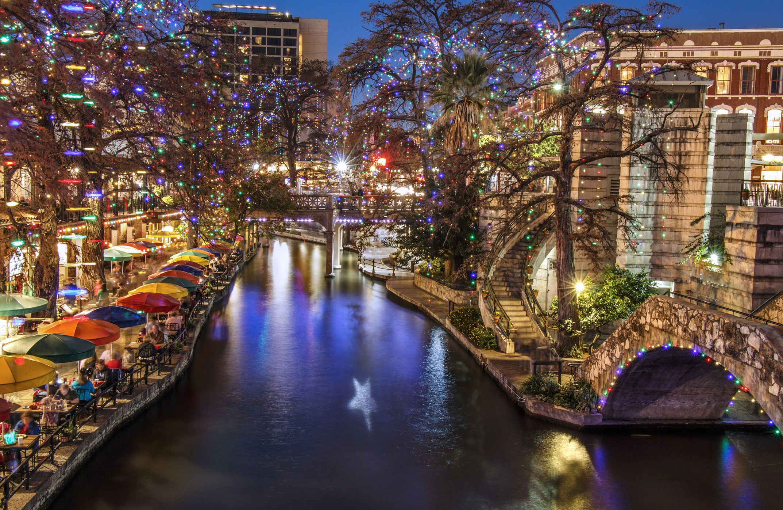 San Antonio Riverwalk during the Christmas season
