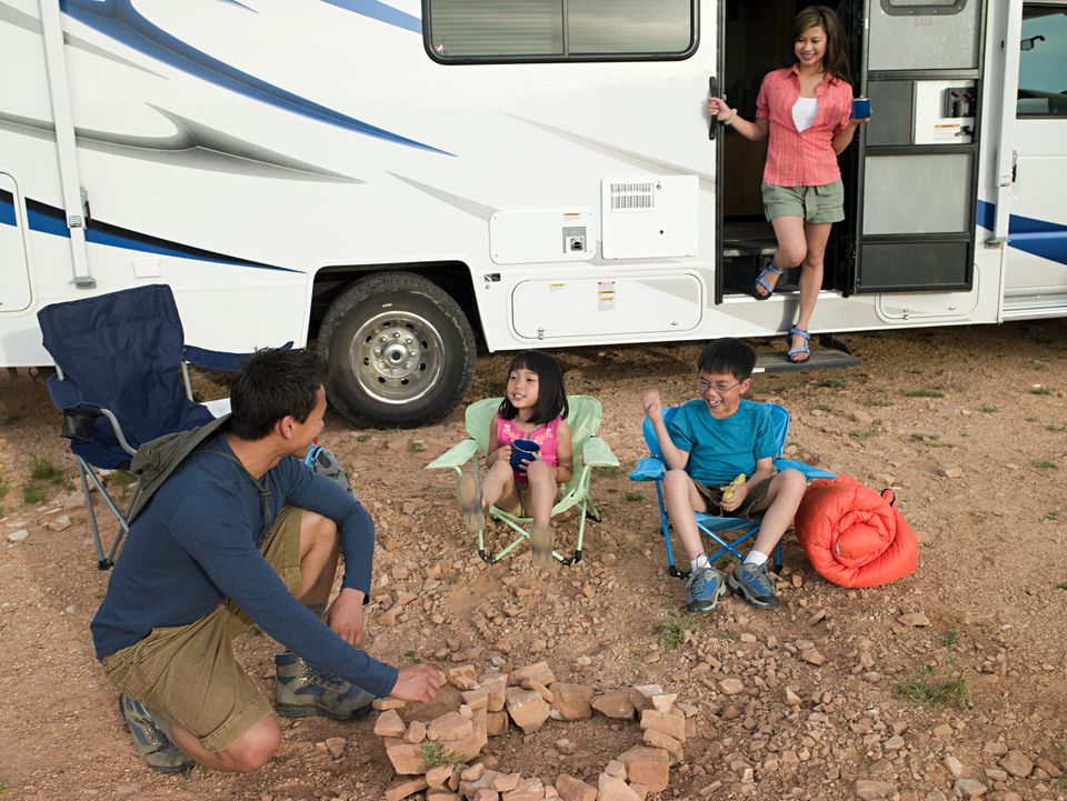 Family with motor home