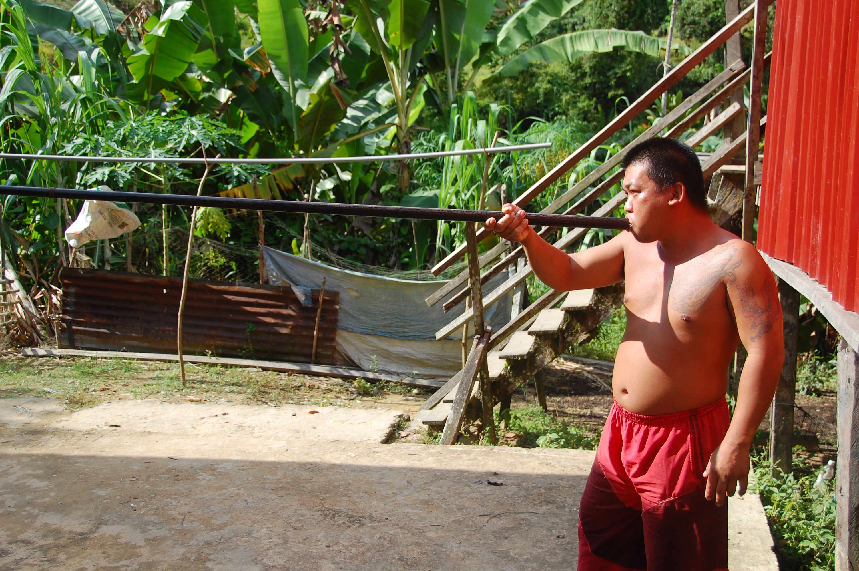 Dayak man in Sarawak Borneo with Blowgun