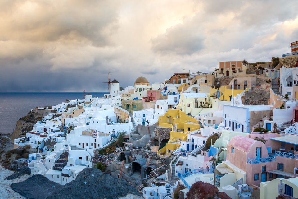 View of Santorini island during winter in Greece