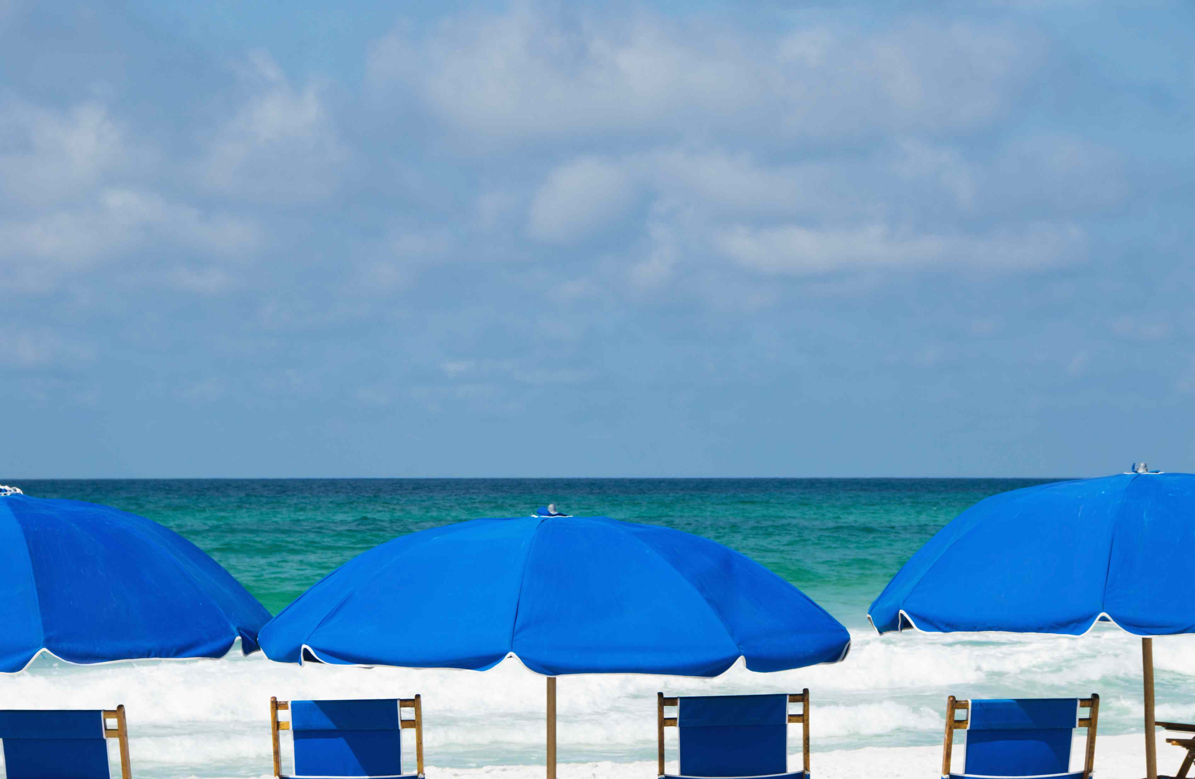 Row of the Tops of Blue Colored Beach Umbrellas