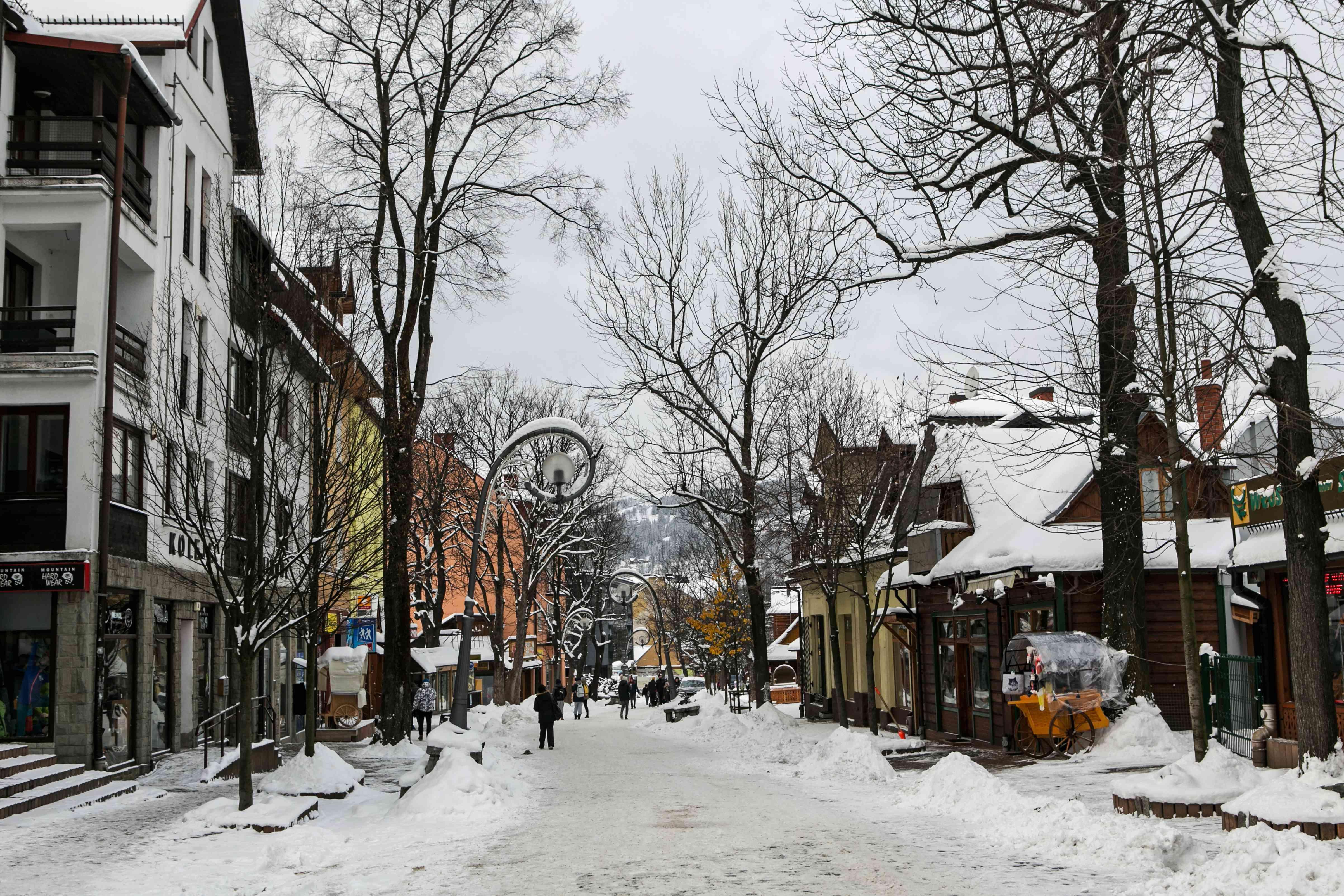 Snow covered Krupowki street in Zakopane, Poland