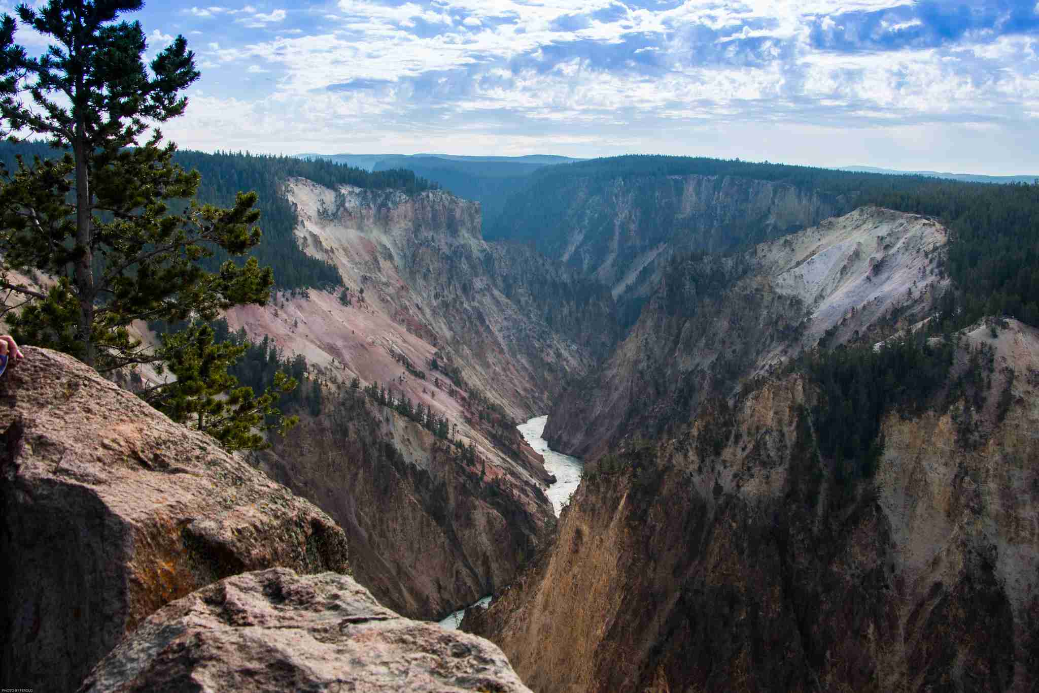 View of mountains and river running through them in Yellowstone National Park