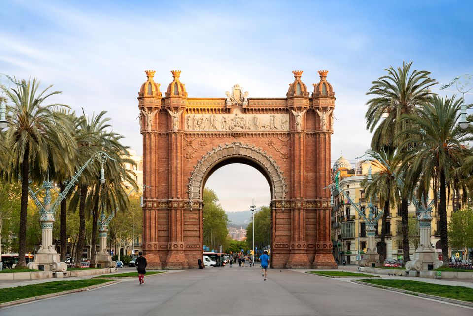 Bacelona Arc de Triomf during sunrise in the city of Barcelona