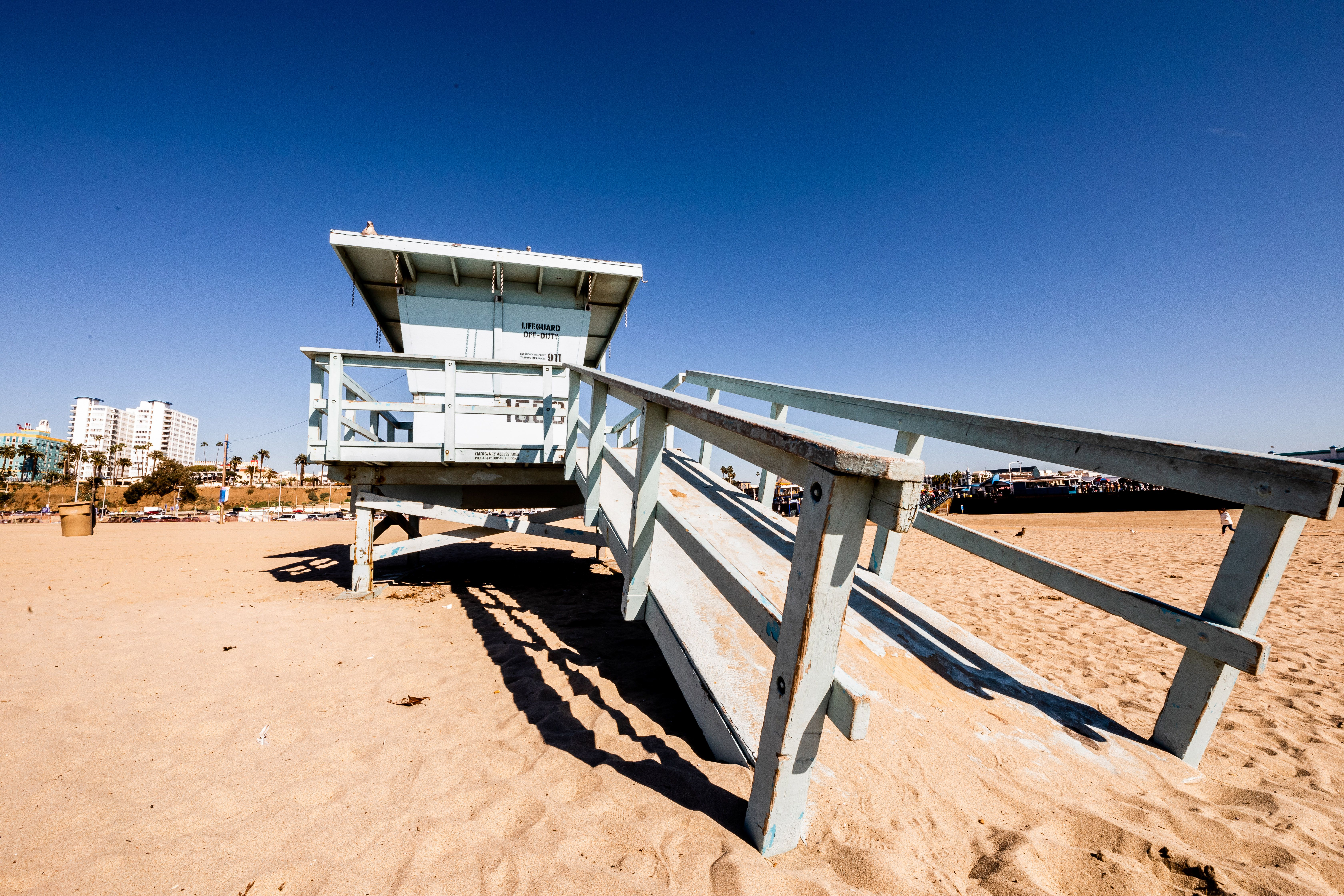 A lifeguard stand on the beach
