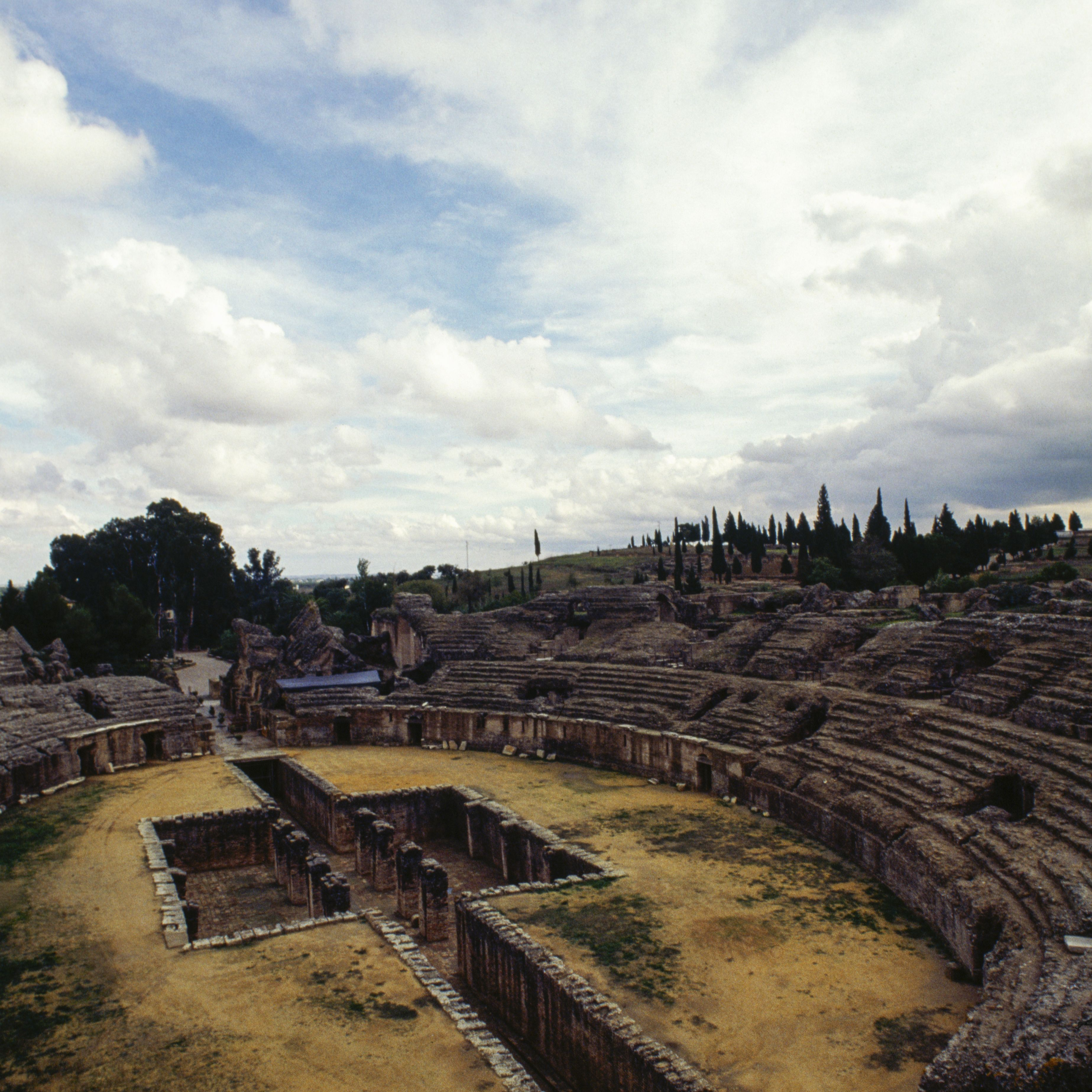 The Roman amphitheater of Italica, Santiponce, Andalusia, Spain, Roman civilization, 2nd century AD