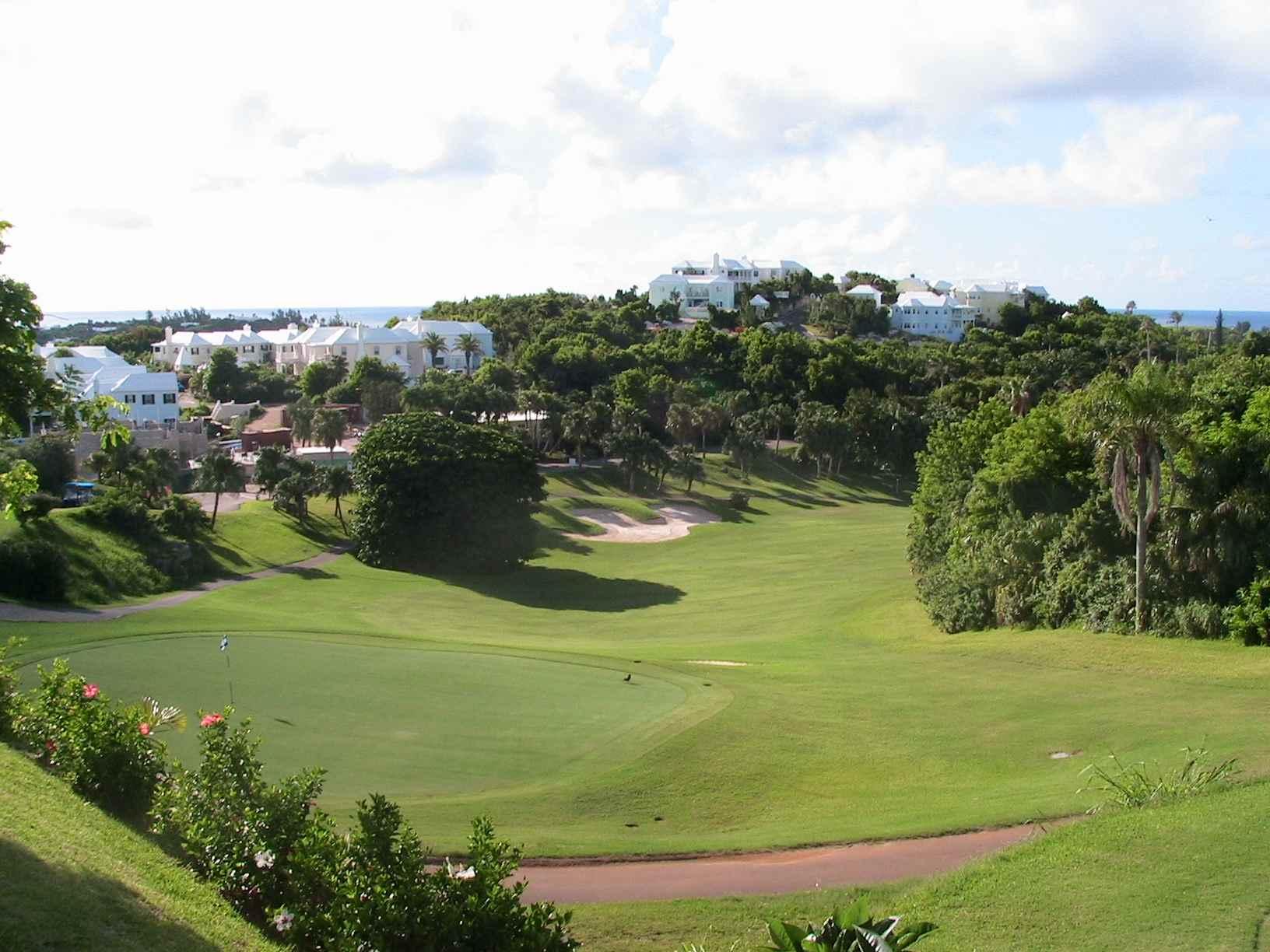 Golf course overlooking resort at Tucker's Point Club in Bermuda.
