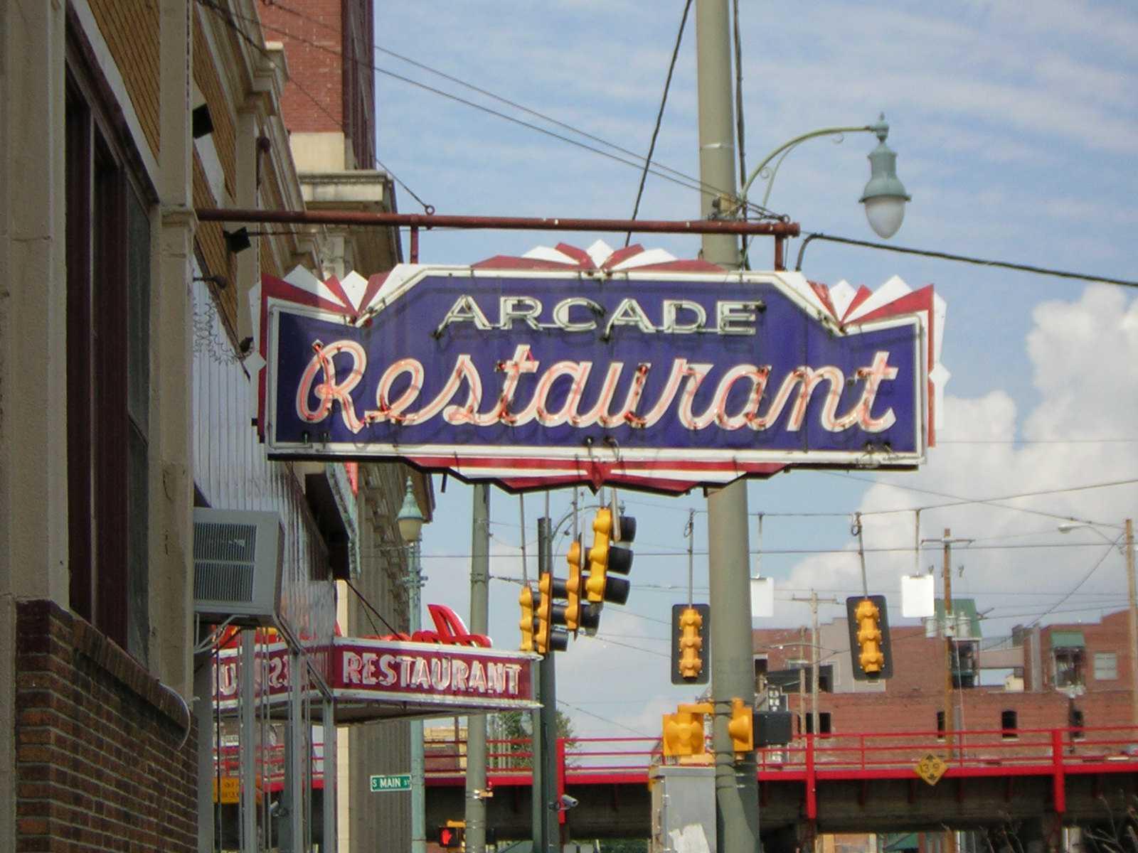 Sign for Arcade Restaurant