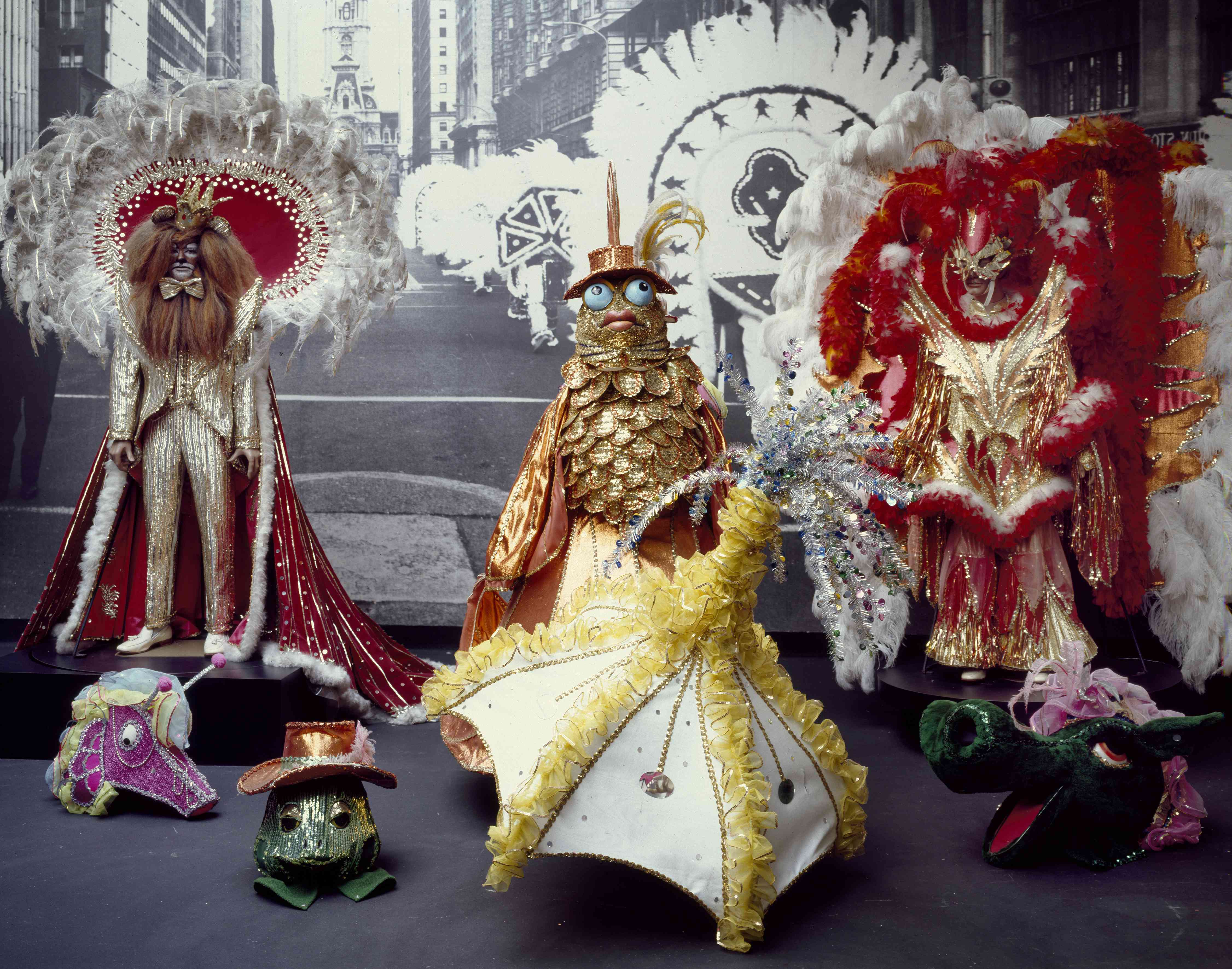 Colorful costumes at the Mummers Museum in South Philadelphia, Pennsylvania