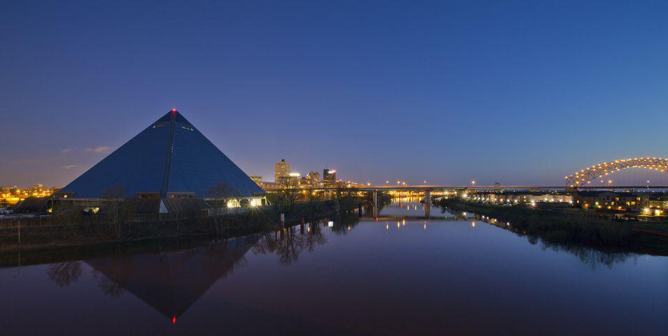 The Memphis skyline at dusk.