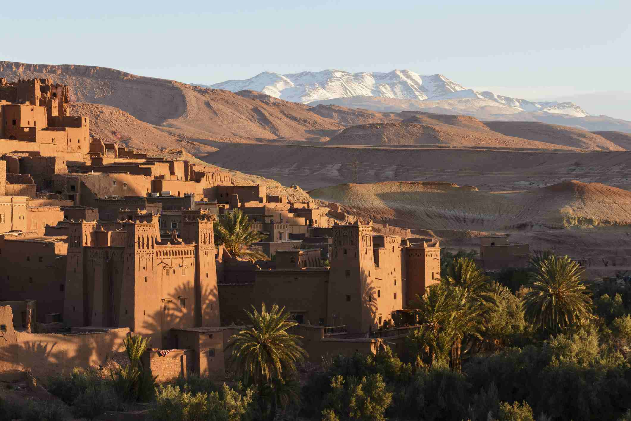 The High Atlas Mountains are visible in the background, Ouarzazate Province, Morocco