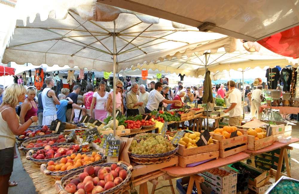 Market on Place de Lices, St-Tropez, France