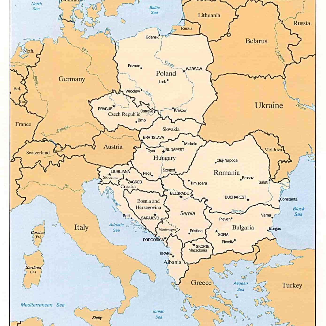 Eastern Europe Map Rivers.European River Cruise Maps
