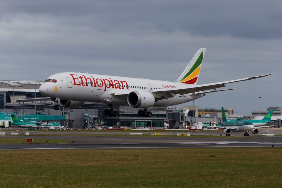 Ethiopian Airways flight landing in Dublin, Ireland
