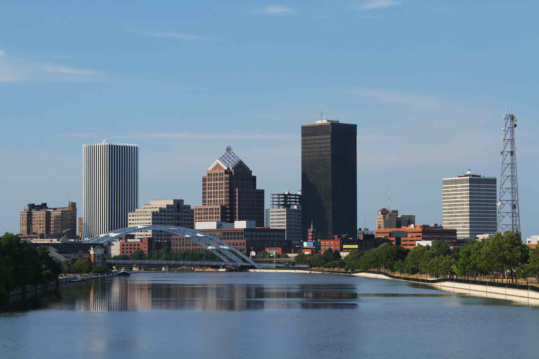 River and skyline of Rochester, New York