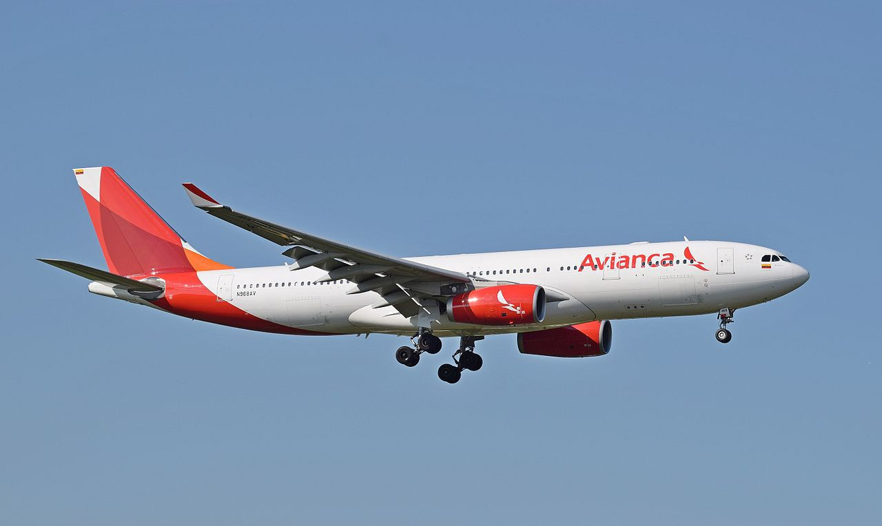 Avianca Airbus A330-200 (N986AV) arrives London Heathrow Airport, England. The livery seen here was introduced in 2013.