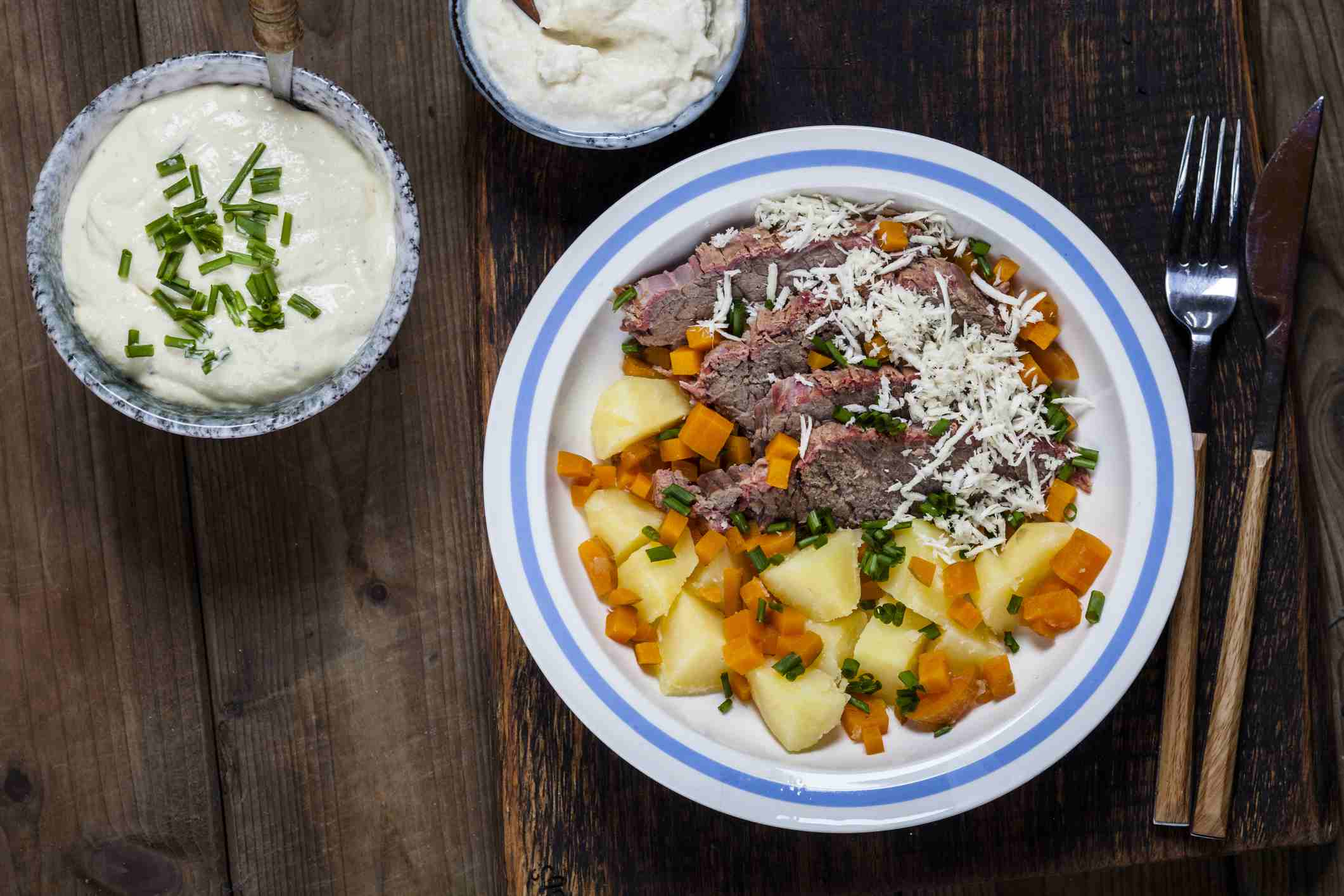 Tafelspitz with boiled potatoes, carrots, creamed horseradish and chives sauce