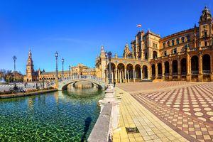 Plaza Espana on sunny day. Seville