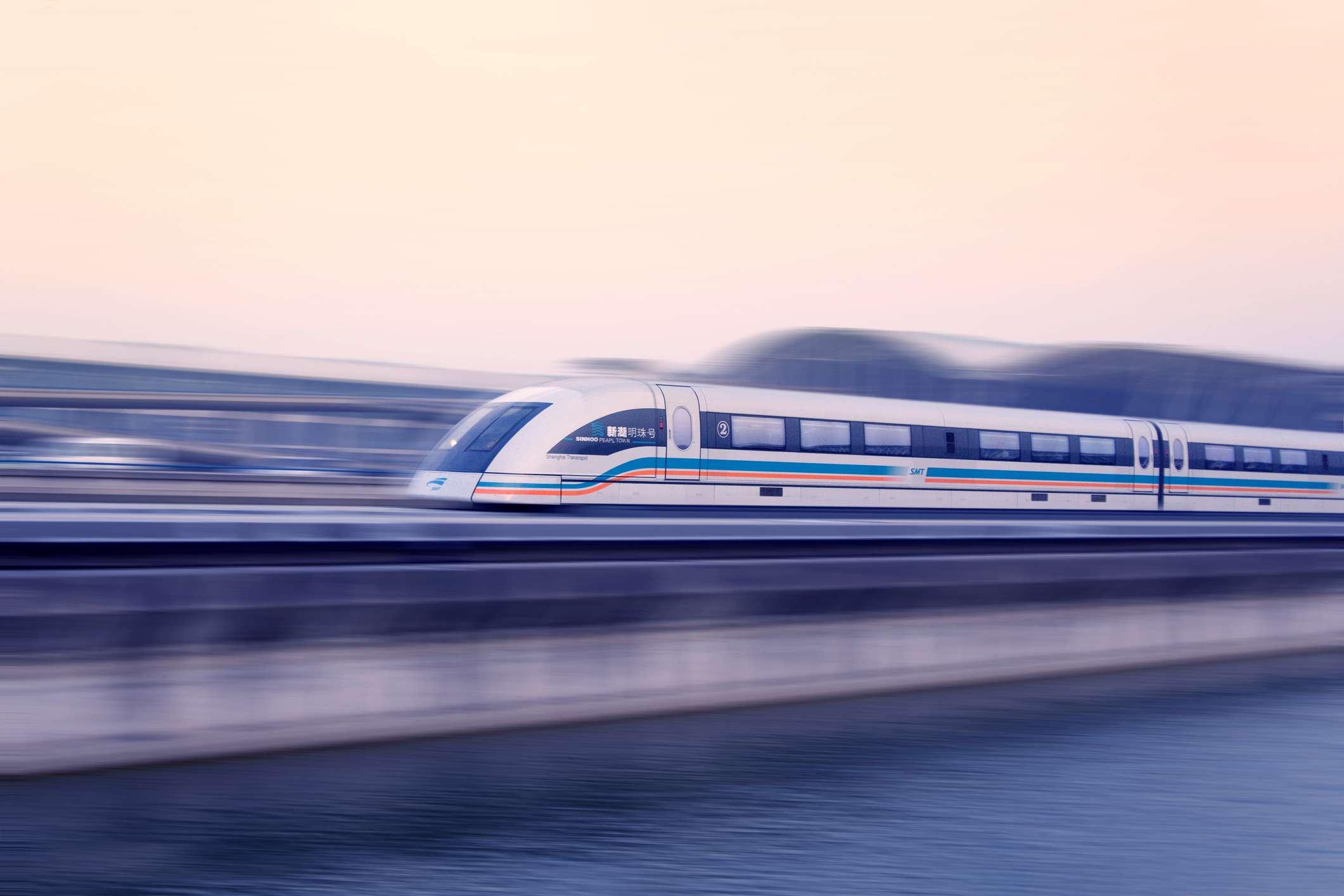 Mag-Lev Train Streaking Through Shanghai