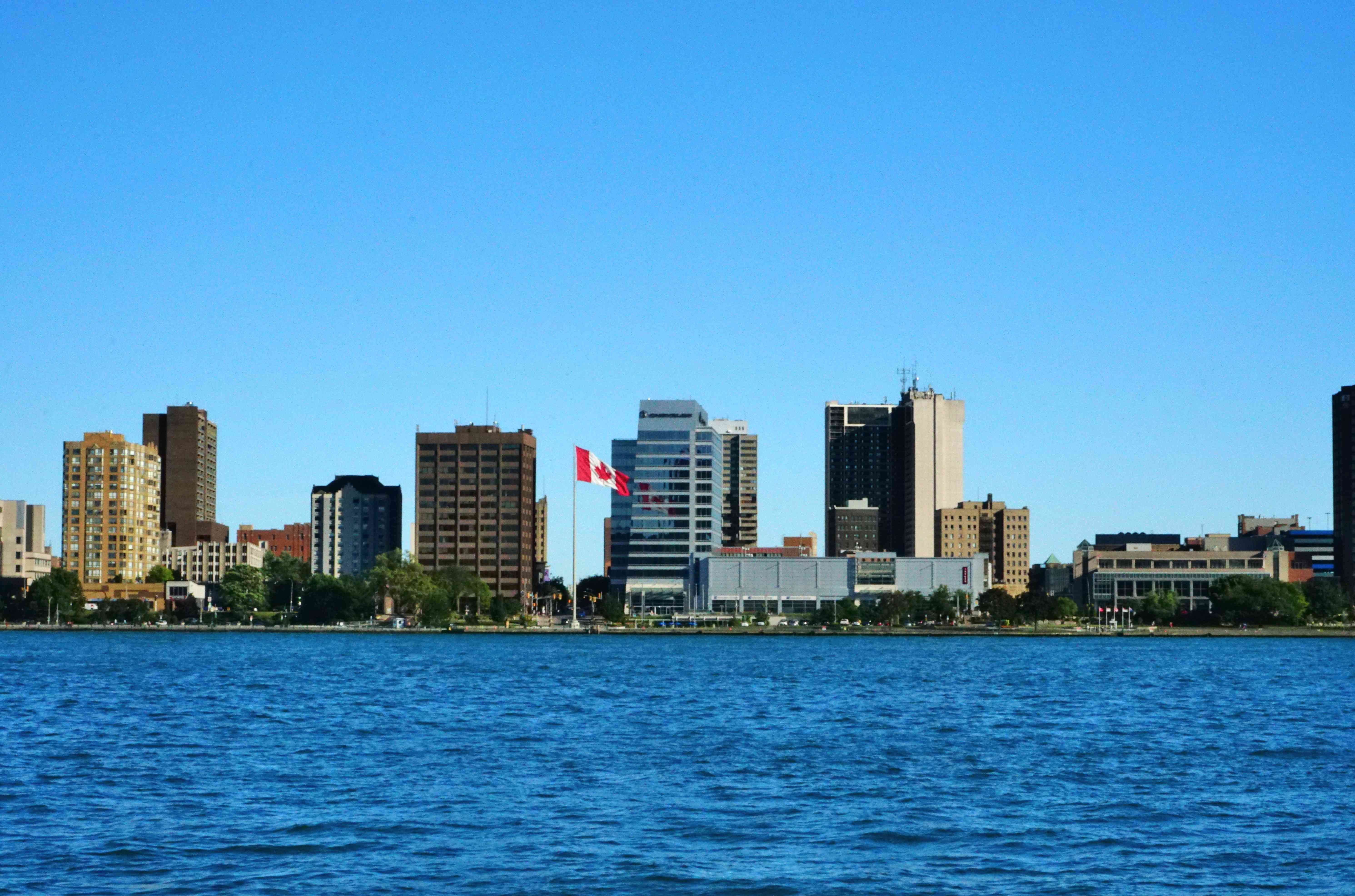Downtown city skyline on the river