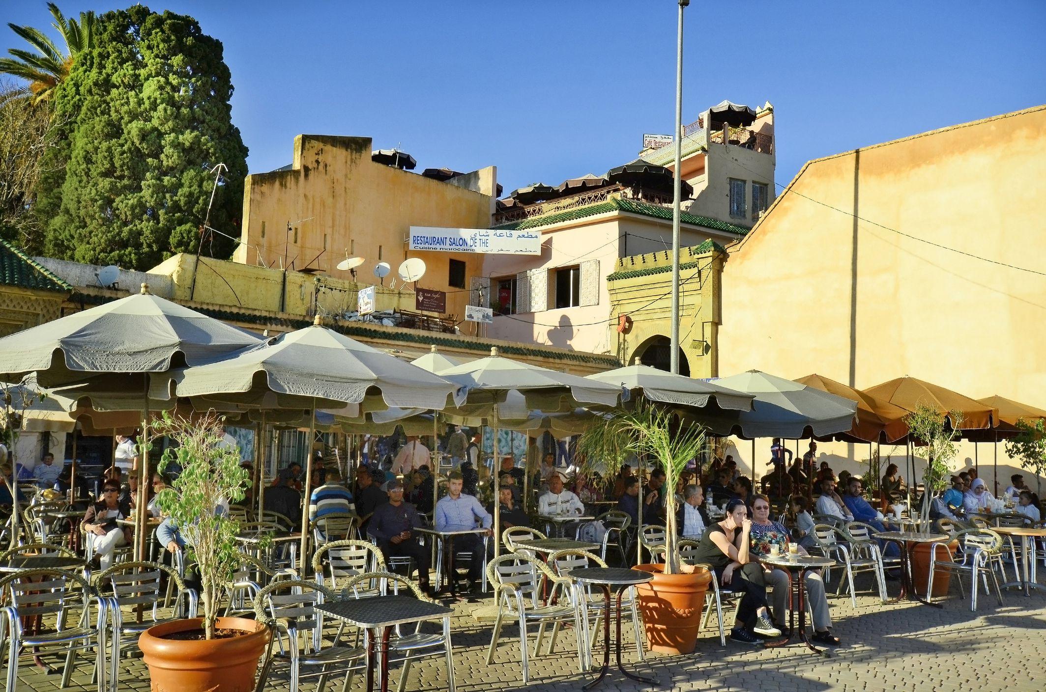 Outdoor restaurants in Meknes, Morocco