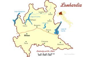 Lombardy Map with Cities