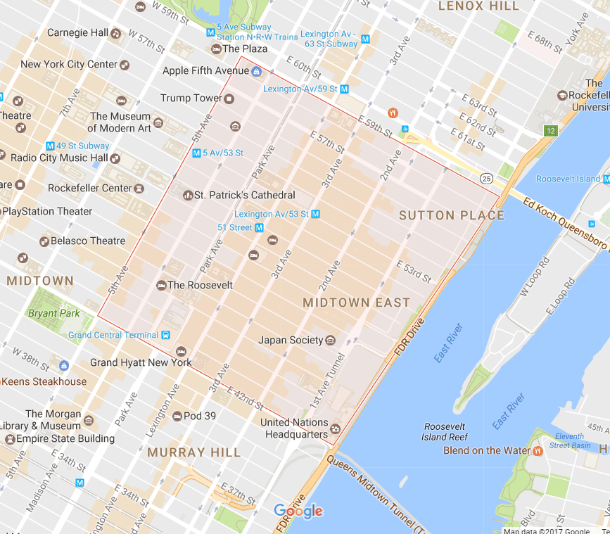 New York City Midtown East Neighborhood Map