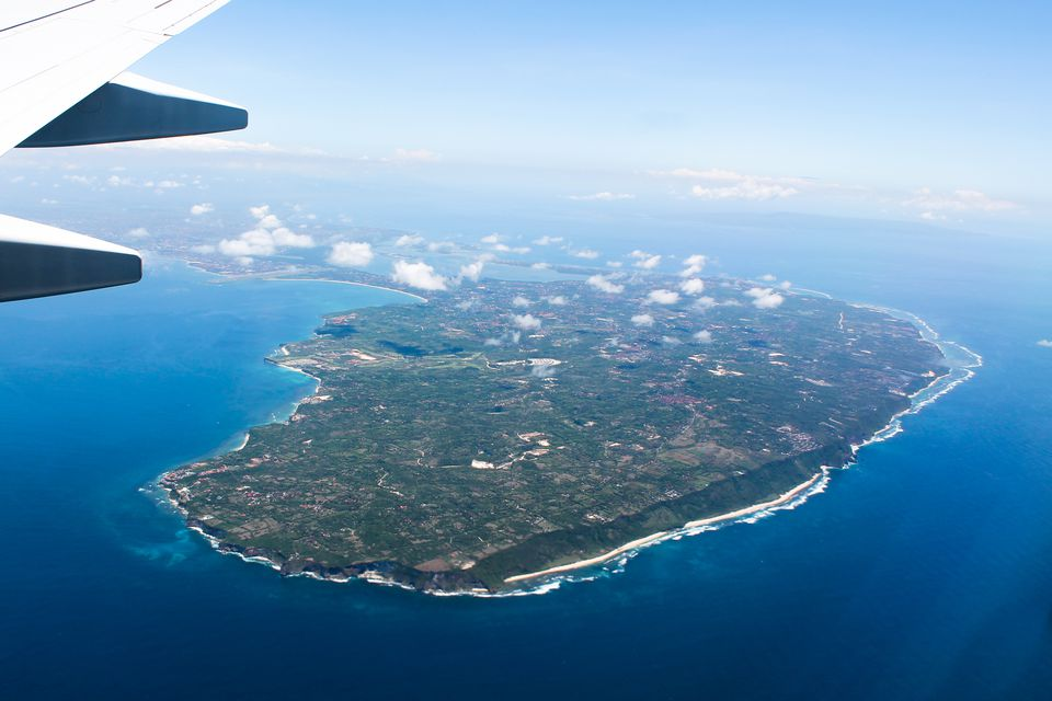 Flying into Bali, Indonesia