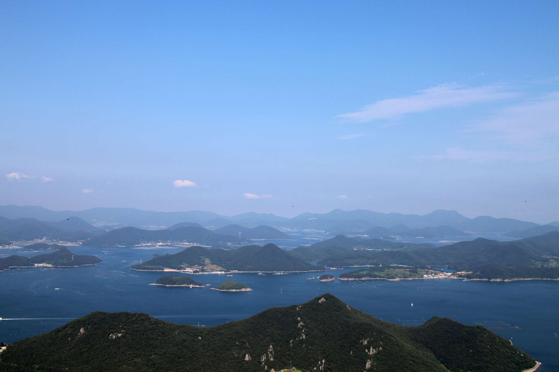 Aerial view of Dadohaehaesang National Park in South Korea