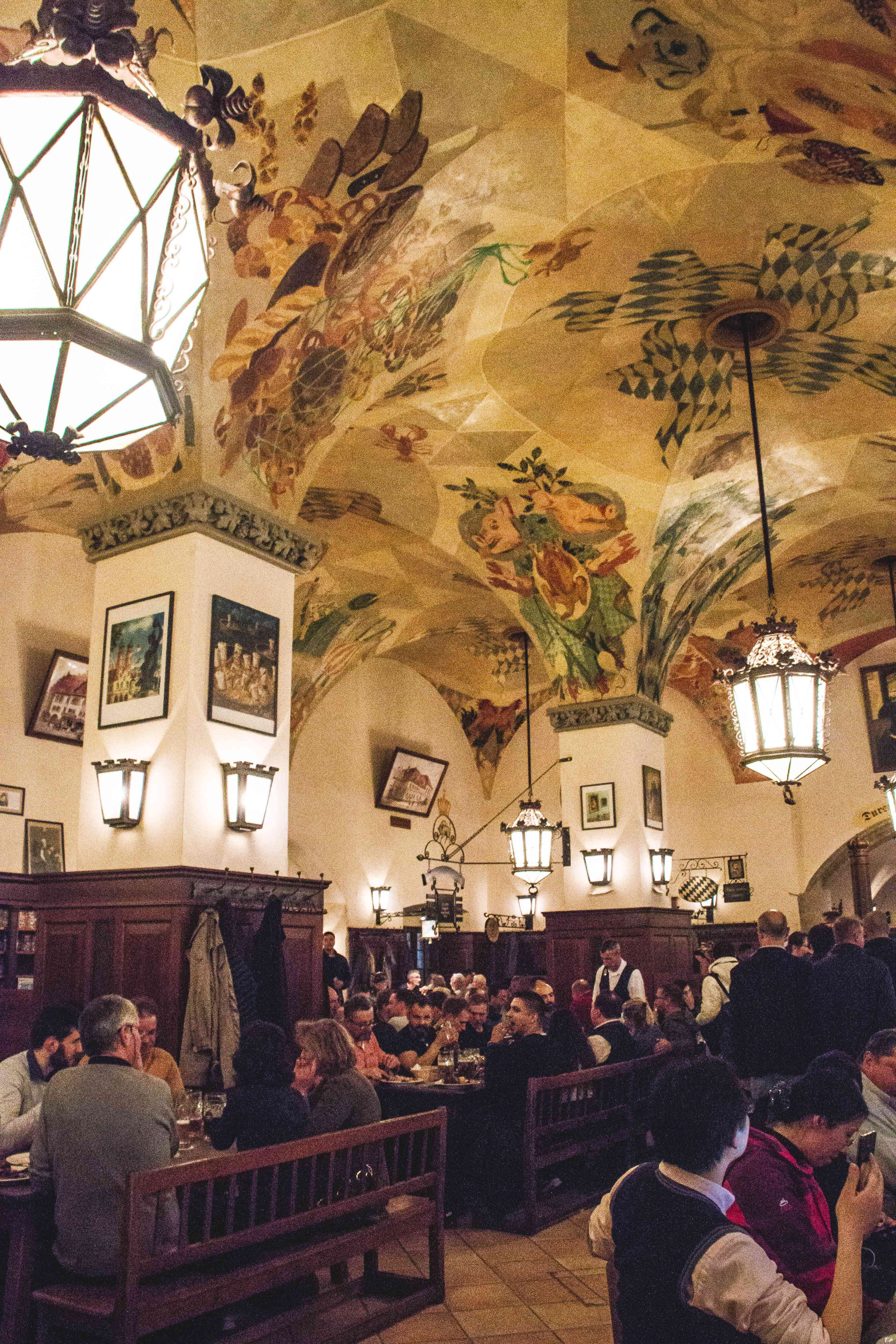 Inside the famous beer hall Hofbrauhaus in Munich