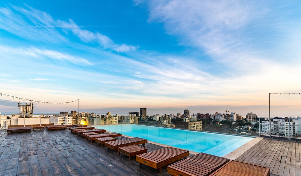 Pool on the roof of a building (Montevideo; Uruguay)