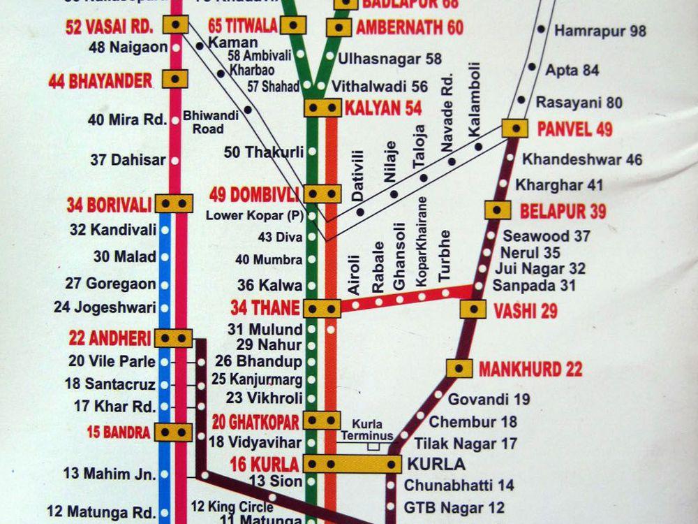 Printable Mumbai Local Train Map for Tourists on