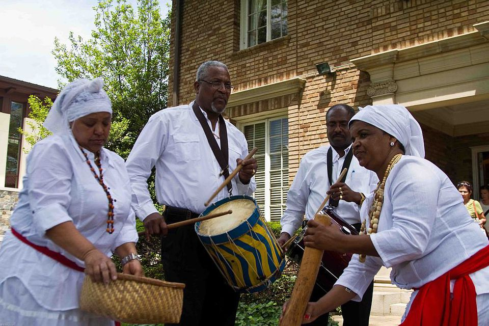 Embassy of the Republic of Cape Verde performers playing on drums