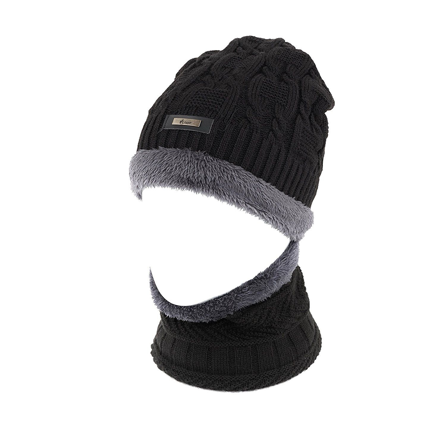 Lying Cat Hat for Men and Women Winter Warm Hats Knit Slouchy Thick Skull Cap Black