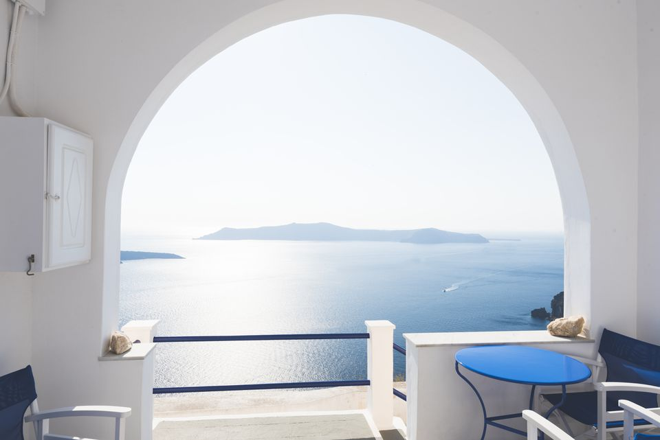 View from Hotel Room in Santorini, Greece